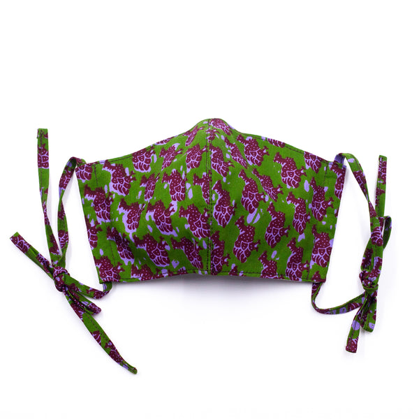 I・mask - Guinea fowl・green & purple -