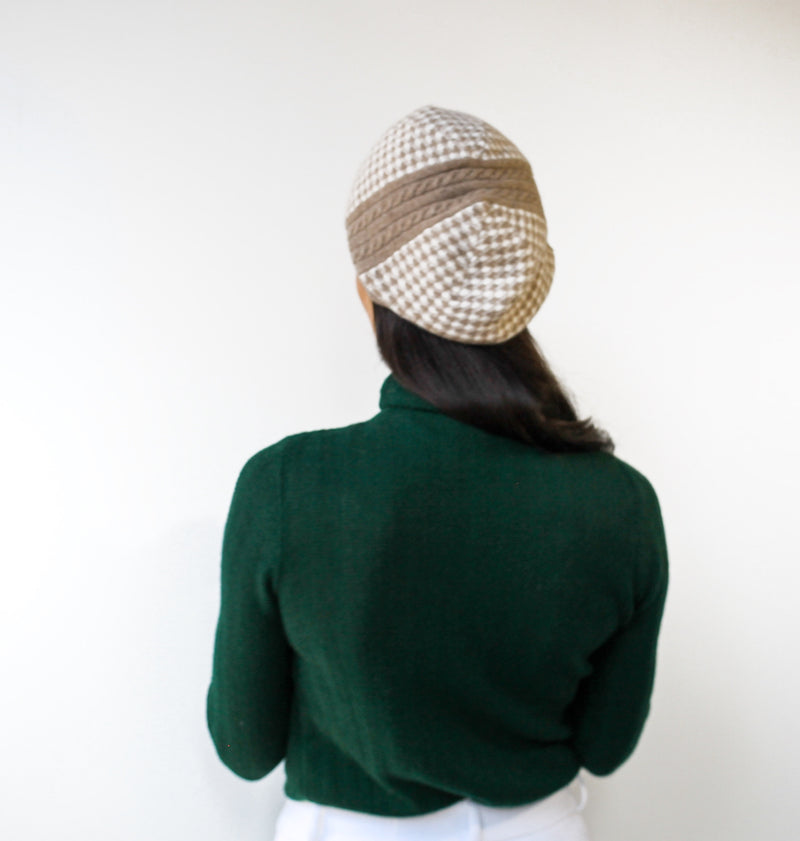 The Clara Cashmere Houndstooth Beanie