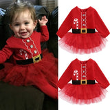 Christmas Newborn Baby Girl Cotton Tulle Tutu Dress Party Outfits Costume 0-2T