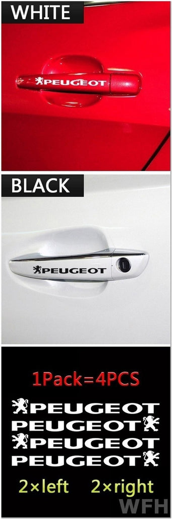 Hot Sale Car Stickers for Door Handle 12cm*2cm Peugeot 206 207 301 307 308 406 407 408 508 2008 3008 5008 Car Styling Car Accessories