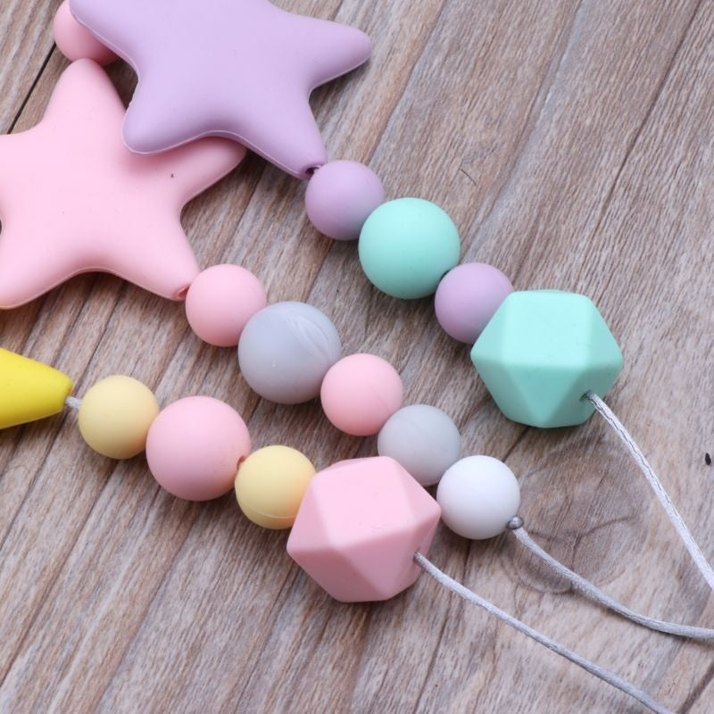 1Pcs Silicone Teething Necklace With Chew Beads For Baby Teethers BPA Free Mommy Nursing Necklace Infant Toy OFT