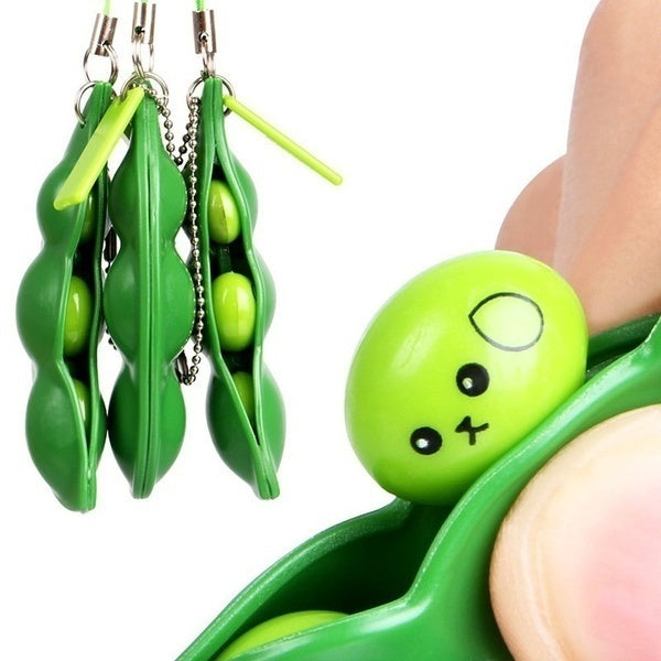 2Pcs Fun EDAMAME Soybean Bean Pea Keychain Phone Charm Stress Relieve Funny Toy Gifts