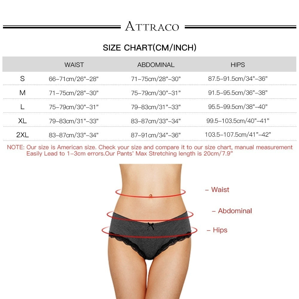 ATTRACO Women Hipsters Lace Underwear String Panties Solid Hollow Out Briefs Cotton Soft Skin-friendly Comfortable 4 Pack