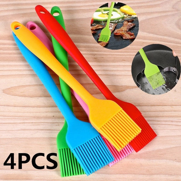 4PCS/Set Multi Color Silicone Basting Pastry Brush Oil Brushes For Cake Bread Butter Baking Tools Safety BBQ Barbeque Brush 21*3cm