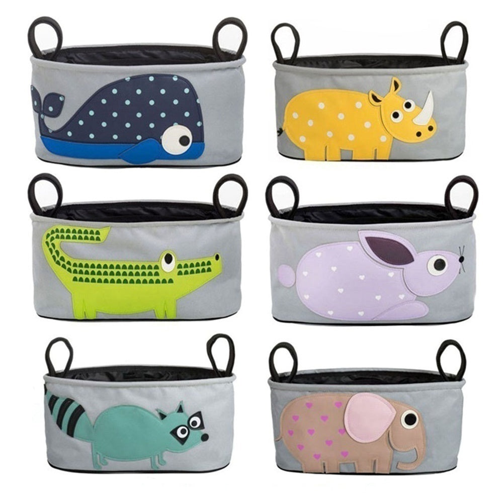 Baby Stroller Bag Waterproof Oxford Cloth Nappies Basket Cartoon Animal Multi-function Stroller Hanging Bag Storage Bag