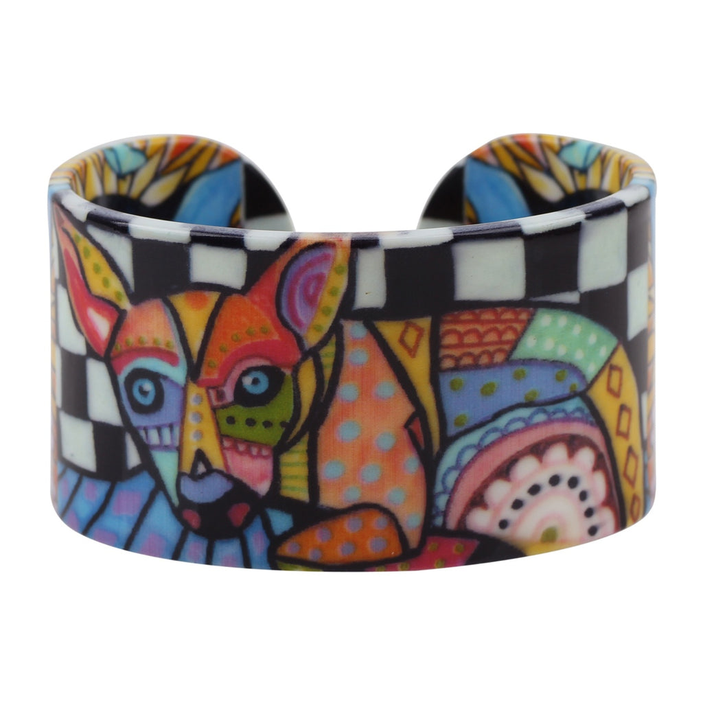 Wide Acrylic Chihuahua Dog Dachshund Pattern Cute Bracelets Bangles Cute Pet Jewelry For Women Charms Gifts Accessories