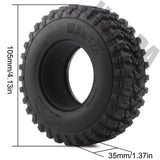 4PCS 1.9 Inch Rubber Rock Terrain Truck Tires for 1:10 RC Crawler Axial SCX10 RC4WD D90 TF2 MST Tamiya
