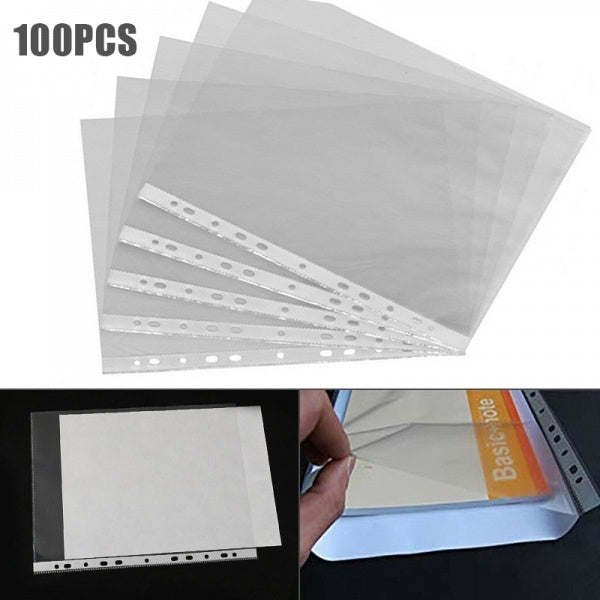 100Pcs Durable A4 Clear Plastic Punched Pockets Folders Filing Sleeves Document Files & Papers Protector