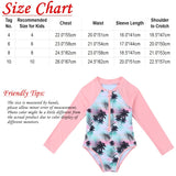 Kids Girls One Piece Rash Guard Swimsuit Long Sleeves Palm Printed Zippered Bathing Suit Swimwear