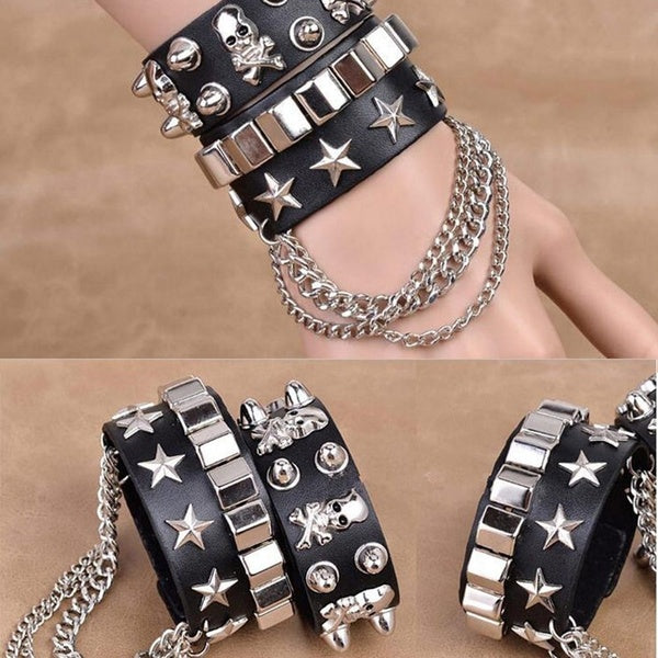 High Quality Gift Cool Rock Leather Unisex Steam Stylish PU Skull Bracelet Punk Spike