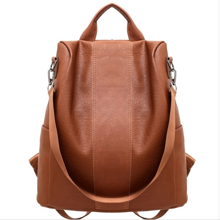 Ladies Faux Leather Shoulder Bag Women Backpack Handbag Anti-Theft Casual Rucksack