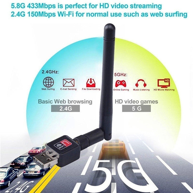 USB WiFi Network Adapter 600 Mbps Dual Band 2.4/5Ghz Wireless  w/Antenna 802.11AC
