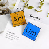 Periodic Table Enamel Pin Ah Um Brooches Bag Clothes Lapel Pin Modal Particle Badge Funny Jewelry