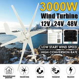 Wind Turbine Generator 3000W DC 12V/24V/48V Wind Turbine 6 Blades Low Wind Speed Starting NSK Bearings Garden Street Lights Wind Turbines with Charge Controller Garden (Pole Not Include)