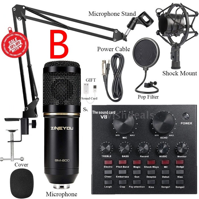 BM800 Condenser Microphone Kit With Live V8 Sound Card Pro Audio   ZINGYOU BM800 Professional Condenser Microphone Kit Computer Studio Recording Suspension Cissor Arm 2019 New Upgrade