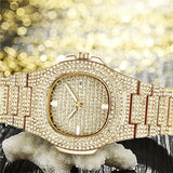 Mens Watches Luxury Business Diamond 14K Gold Plated Stainless Steel Waterproof Quartz Watches Relogio Masculino