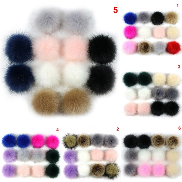 12pcs 8cm Fluffy Faux Fur PomPom DIY Car Handbag Keychain Key Ring Ball Pendant