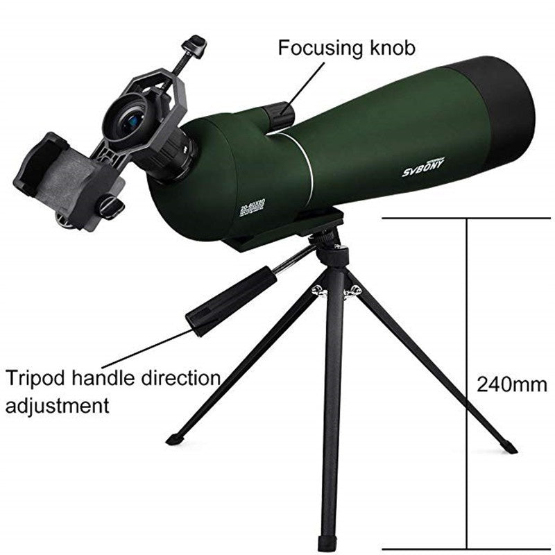Svbony SV28 60mm Spotting Scope Zoom Telescope Waterproof Birdwatch Hunting Monocular & Universal Phone Adapter Mount F9308
