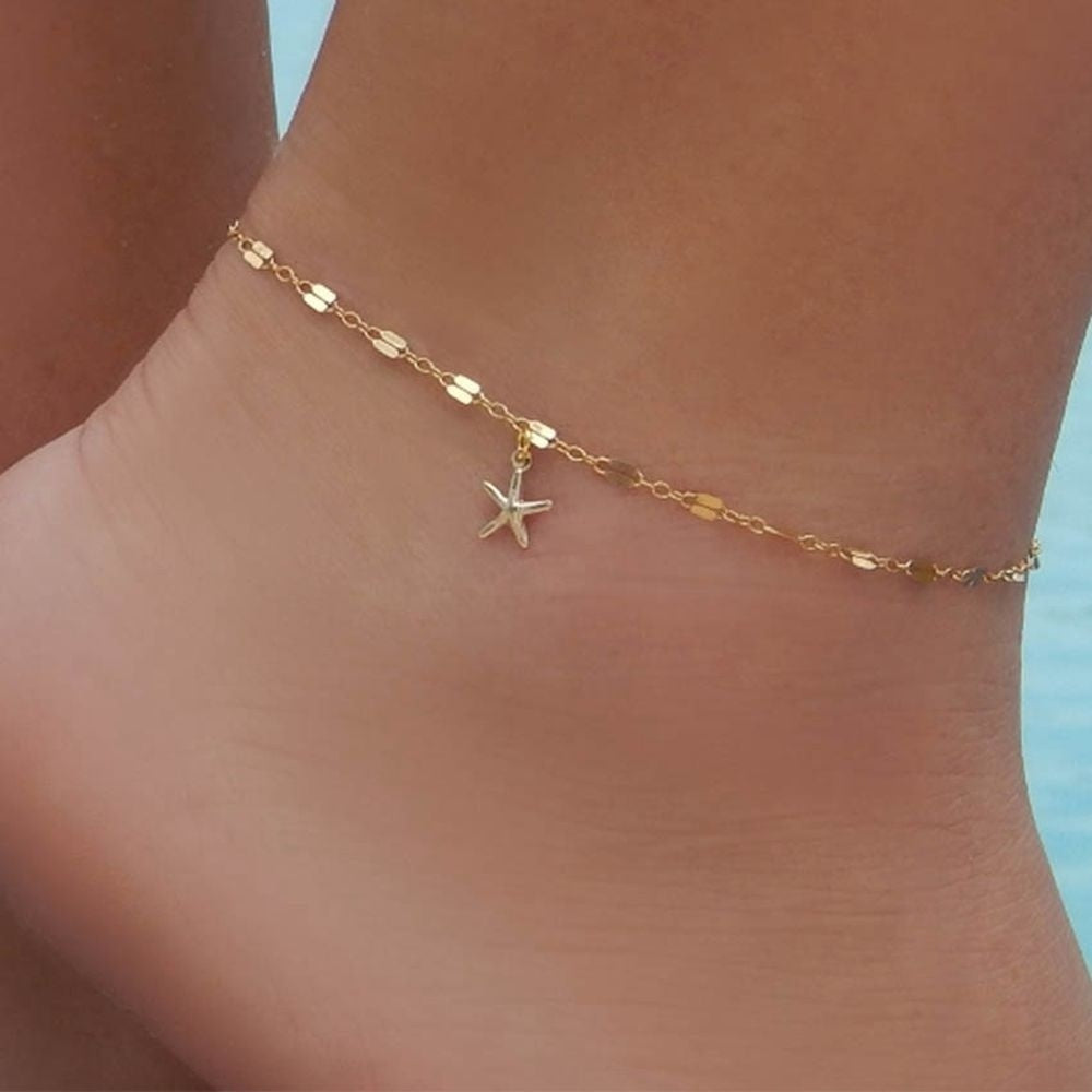 Jewelry Gold Plated Summer Foot Bracelet Ankle Chain Anklet Starfish Pendant