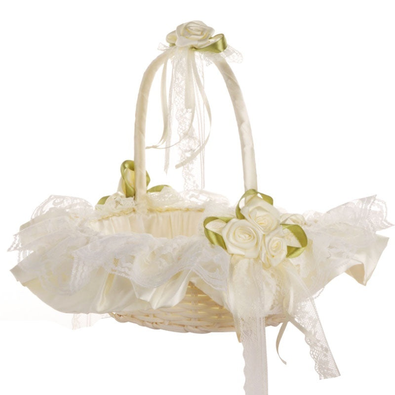 Romantic Wedding  Decoration Accessories Ceremony Party Love Case Lack Bowknot & Rose Flower Girl Basket