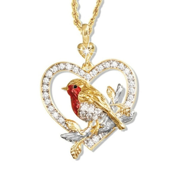 Luxury 18K Gold Plated Bird Heart Pendant Necklace Love Necklace Romantic Wedding Diamond Necklace Jewelry Anniversary Gift
