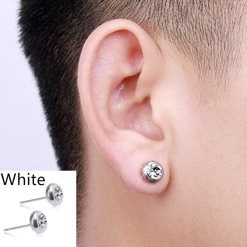 Micro-Magnetic Diamond Earrings Magnetic Stainless Steel Weight Loss Earrings Fat Burning Magnetic Therapy