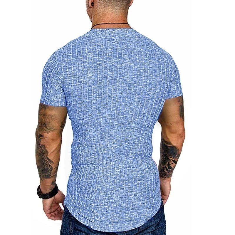 Men Casual Round Neck Short Sleeves Solid Color Plus Size Slim Fit T-Shirt