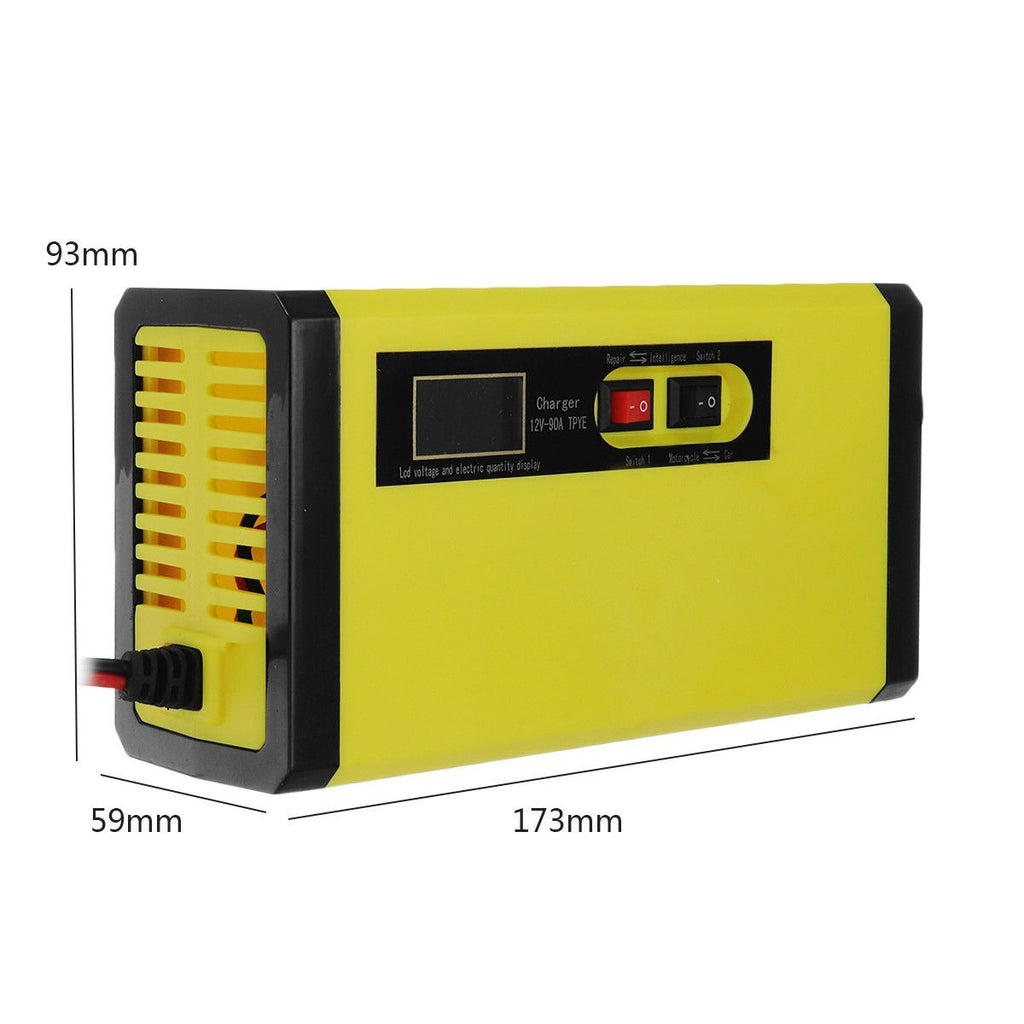 12V 8A LCD Display Battery Charger Pulse Repair For 7-120AH Car Motorcycle Wet Lead Acid