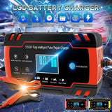 2019 New 40W 2-150Ah Multi-Function Touch Switch Screen Pulse Repair LCD Battery Charger Intelligent Emergency Charger for Car Motorcycle Lead Vehicles