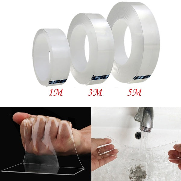 1/5M Clear Multifunction Nano Tape Traceless Washable Adhesive Gel Pads Double-Sided Non-Slip Removable Sticky Strips