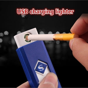 Excellent Gift USB Lighter Rechargeable Flameless Cigar Cigarette Electronic Lighter No Gas Colorful