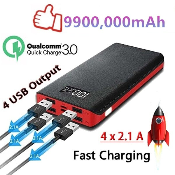 Power Bank 9900,000mAh Portable Charger with 2 LED Light 4A Input Ports for Phone
