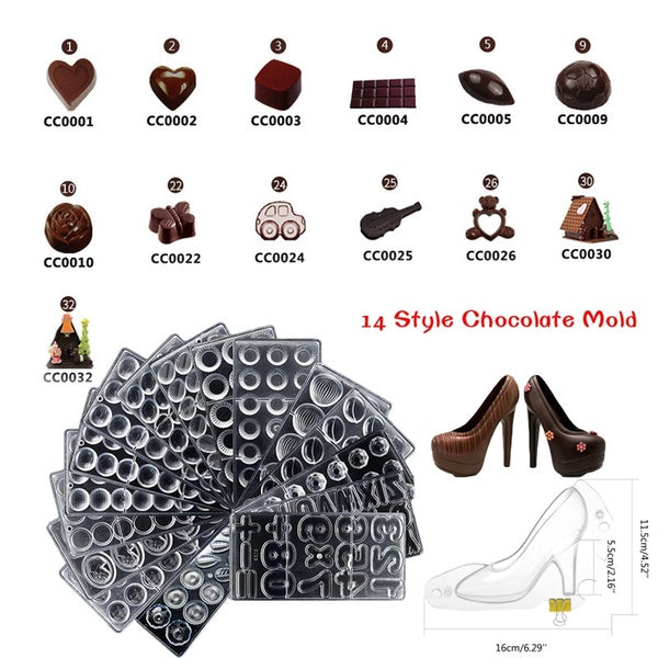 14 Style High Heels/Heart/Water Drop/Rose/Butterfly/Christmas House 3D Chocolate Bar Molds Polycarbonate Plastic Forms Bakery Baking Pastry Tools Plastic for Chocolate Form Tray Moulds