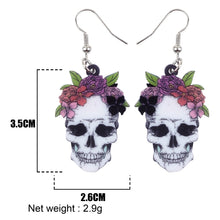 Load image into Gallery viewer, Acrylic Halloween Smile Flower Skull Earrings Dangle Drop Novelty Punk Jewelry For Women Girls Party Gifts