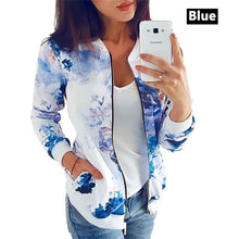 Load image into Gallery viewer, Autumn Women Casual Long Sleeve for Women Floral Jacket Leaf Printed Outwear Zipper Up Short Bomber Pocket Plus Size Jacket Coat