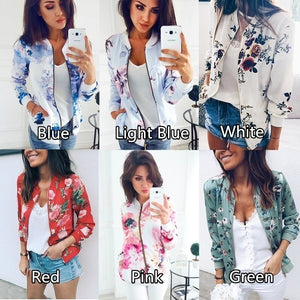 Autumn Women Casual Long Sleeve for Women Floral Jacket Leaf Printed Outwear Zipper Up Short Bomber Pocket Plus Size Jacket Coat
