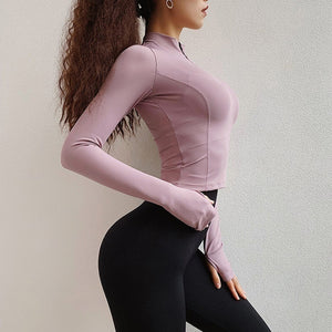 7 Colors Workout Crop Tops for Women Long Sleeve Yoga Shirts Fitness Tee Running Shirts 1/2 Zipper Jacket Gym Sports T-shirt Sweatshirt