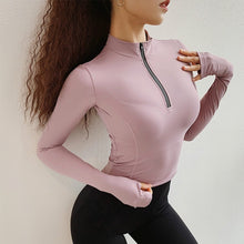 Load image into Gallery viewer, 7 Colors Workout Crop Tops for Women Long Sleeve Yoga Shirts Fitness Tee Running Shirts 1/2 Zipper Jacket Gym Sports T-shirt Sweatshirt