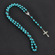 Load image into Gallery viewer, 18K Gold Fashion Cross Rosary Pendant Necklace Jesus Beads Cross Hip Hop Necklace