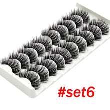 Load image into Gallery viewer, 8Styles 10Pairs Multipack Natural False Eyelashes Soft Cross Mink Lashes Multilayer Fake Mink Eyelashes Women Makeup Tools