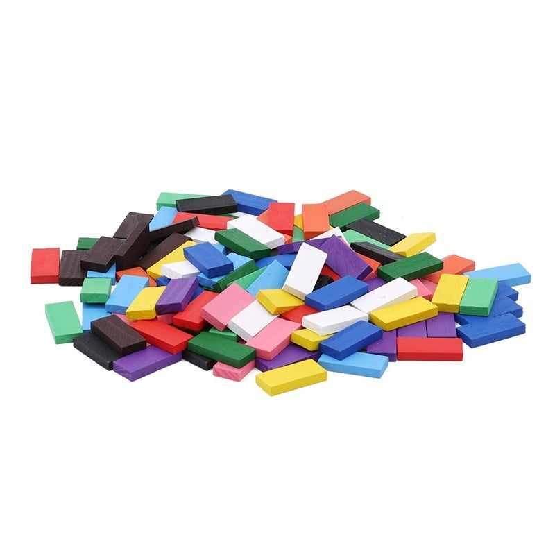 120 Pcs Colorful Wooden Dominoes Wooden Block Children's Educational Toys