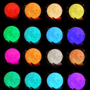 4/8/9/10/12/15/18/20CM 3D Print 16 Colors LED Christmas Moon Lamp USB LED Night Light Moonlight Touch Sensor Kids Gift