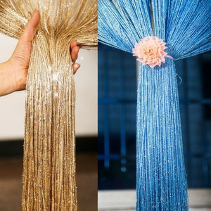 200cm*100cm Fly Screen Fringe Tassel Curtain String Sparkle Curtains Room Divider Door Window Decor Closet Curtain for Bedroom