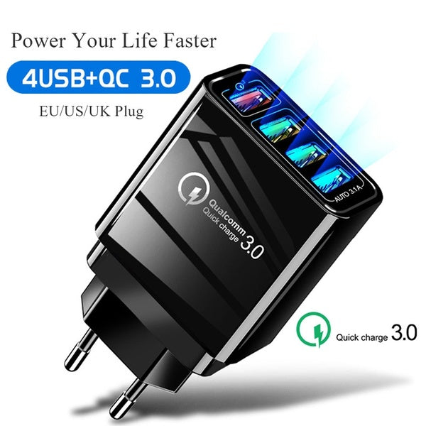 48W Quick Charging 3.0 USB Wall Charger 4 Port US EU UK Plug Adapter For Mobile Phone Charger