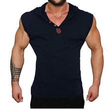 Load image into Gallery viewer, New Men Fashion Sleeveless Solid Color Tank Tops Hooded Button V-neck Vest Running Fitness Training Sport Vest Bodybuilding Slim Fit Bodycon Casual Brief Streetwear Basic Top Plus Size S-5XL 5 Colors