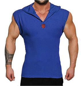 New Men Fashion Sleeveless Solid Color Tank Tops Hooded Button V-neck Vest Running Fitness Training Sport Vest Bodybuilding Slim Fit Bodycon Casual Brief Streetwear Basic Top Plus Size S-5XL 5 Colors
