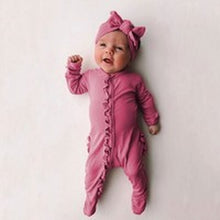 Load image into Gallery viewer, With Hairband Newborn Baby Girl Boy Cute Long Sleeve Sleepwear Rompers Solid Color Jumpsuit Clothes