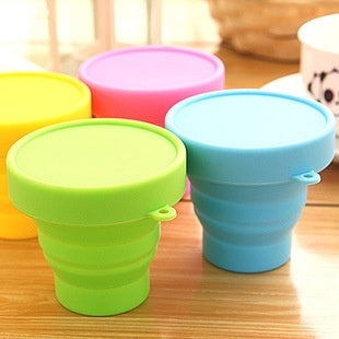 Portable Silicone Retractable Folding Cup with Lid Outdoor Telescopic Collapsible Drinking Cup Travel Camping Water Cup