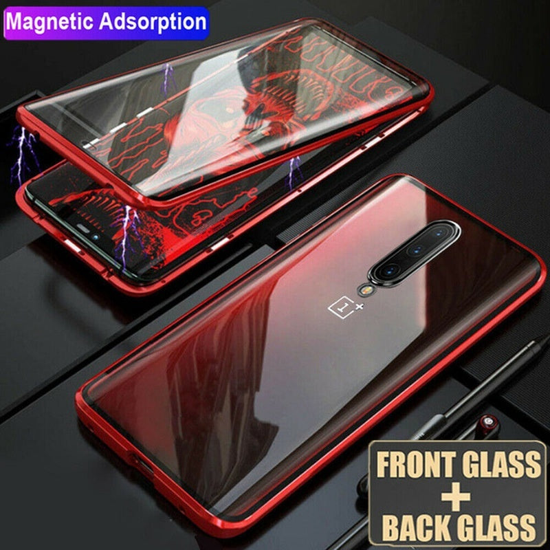 Luxury 360 Magnetic Adsorption Double-sided Tempered Metal Back Cover Case for OnePlus 7 Pro 6T 7 6 Protective Shell Fundas Coque