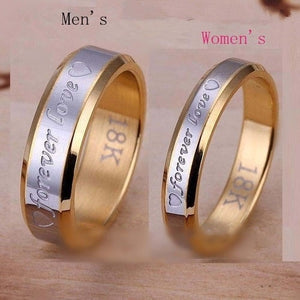 Forever love golden wedding couple plated silver ring, maIe6mm,femaIe4mm.